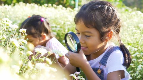 Close-up shot of beauty girl using magnifying glass in floral field. Concept of self learning trips lifestyle in springtime.