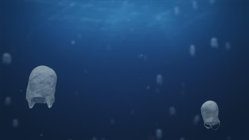 Plastics Bags Swimming   Shutterstock HD Video #1021641535
