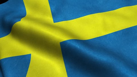 Sweden Flag Seamless Looping Waving Animation