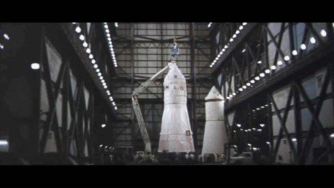 CIRCA 1968 - A Saturn V rocket is assembled inside NASA's Vehicle Assembly Building.