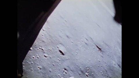 CIRCA 1970s - The Apollo 15 lunar module makes a descent and lands near Hadley Rille canyon on the Moon.