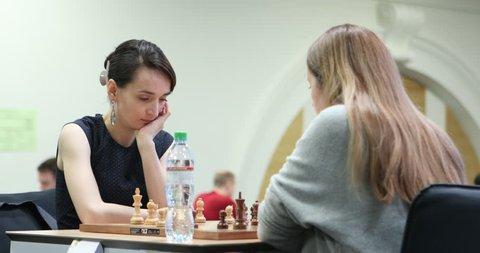 ST. PETERSBURG, RUSSIA - DECEMBER 29, 2018: Grandmaster Kateryna Lagno, Russia (left) competes in King Salman World Blitz Chess Championship 2018. Eventually she won the tournament