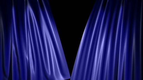 High-resolution 3D animation of the blue velvet theatre curtains opening (alpha channel included)
