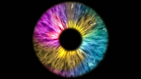 The colored eye is an extreme close-up of the iris and pupil, widening and tapering.