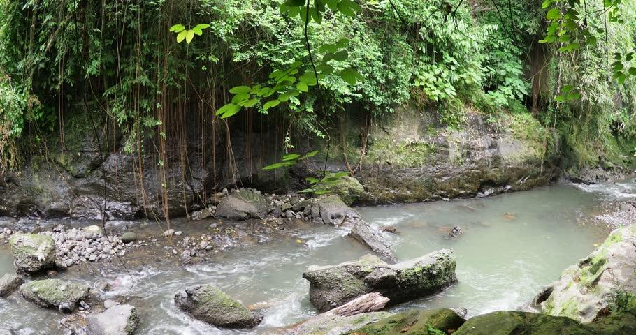 Water flowing through the hidden canyon in Bali | Shutterstock HD Video #1021814335