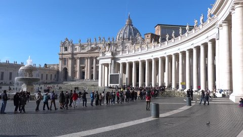 ROME, Italy- Dec.21, 2018: Entering San Pietro Square with People in a line