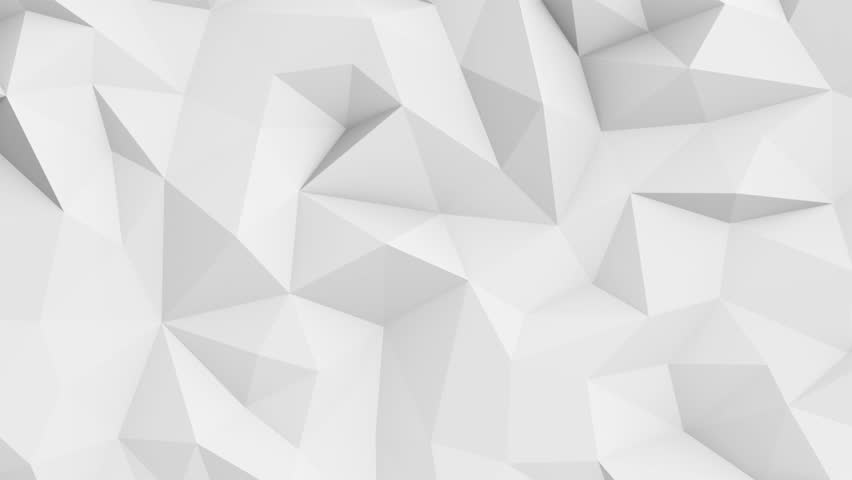 Abstract polygonal geometric surface animation. Clean soft low poly motion white grey background. Seamless loop 4K FullHD