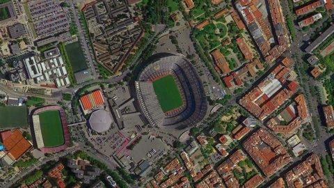 Barcelona, Spain, January, 2019: Earth Zoom from Camp Nou Stadium