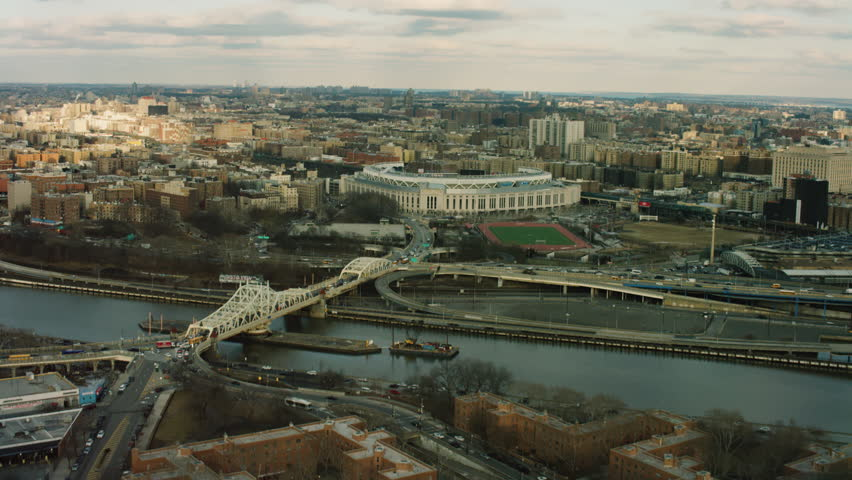 New York, United States of America CIRCA 2018 - Aerial view of the Yankee Stadium in the Bronx, New York City, with soft natural day light. Shot on 4k RED camera.