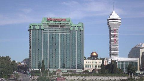 NIAGARA FALLS, CANADA - SEPTEMBER 19: Sheraton Hotel exterior establishing at Niagara Falls, Canada on September 19, 2018.