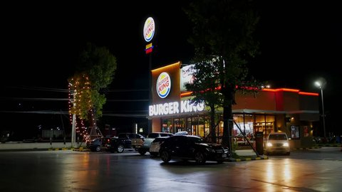 Nakhon Ratchasima, Thailand - December,31 2018 : Decoration of New year light and Christmas light of Burger King restaurant  at Nakhon Ratchasima, Thailand