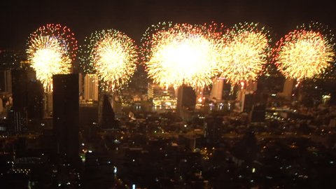 Ariel view, new year 2019 fireworks celebration on Chao Phraya river in Bangkok, Thailand.  Asian,