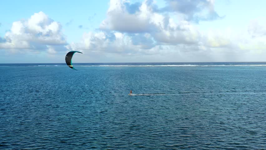 kite surf on a lagoon in aerial view, Philippines #1022022805