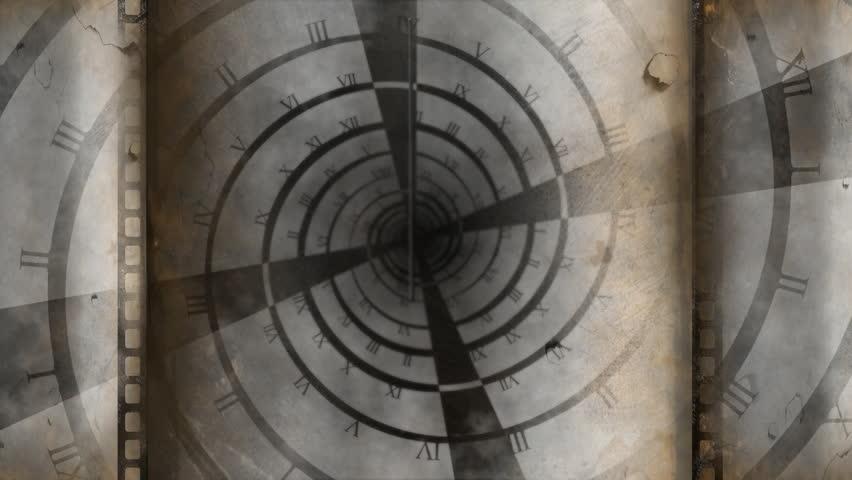 Old spiral clock turning and clocks hands running | Shutterstock HD Video #1022027215