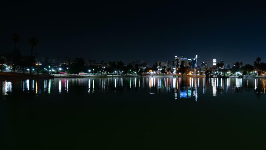 Los Angeles Skyline Reflected on MacArthur Park Lake USA | Shutterstock HD Video #1022057755