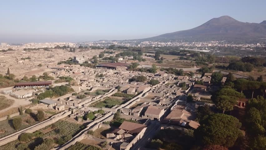 The ruins of Pompeii overshadow by Mount Vesuvius