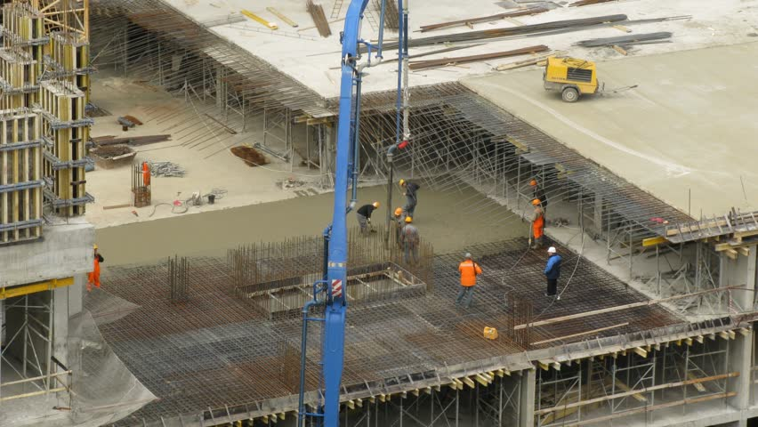 e4f80f3ac6bb0 Construction Workers Pour Concrete Using Stock Footage Video (100 ...