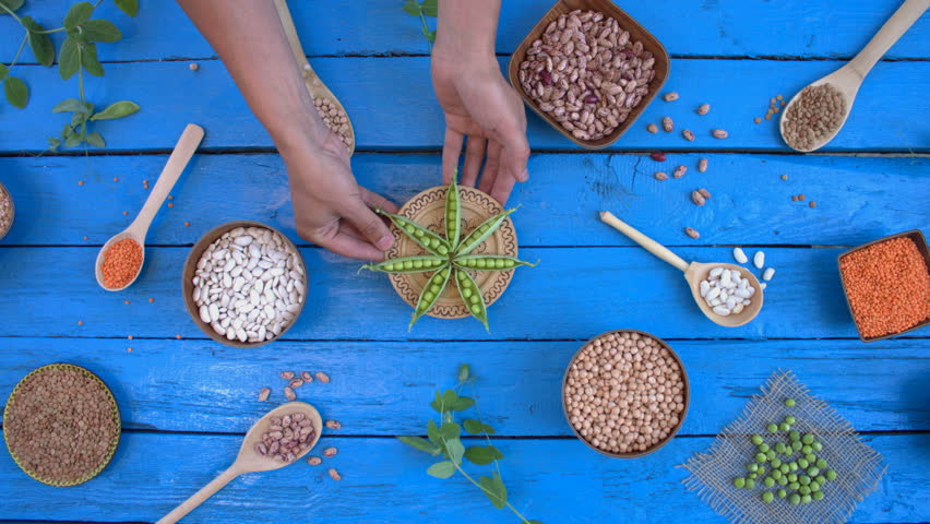 Legumes on wooden ecological background. Beans are located in unusual form on blue wooden table. Hands put plate with green peas on table. Bean cultures in wooden bowls. peas lie on napkin. | Shutterstock HD Video #1022100025