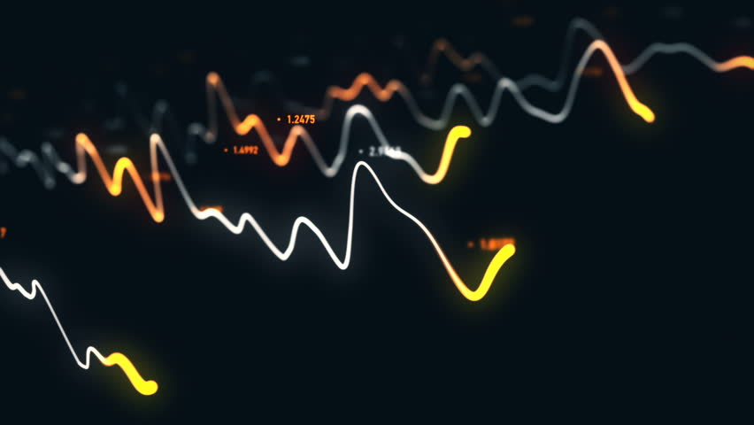 Animation growth of abstract charts with changing values of check points on dark background. Animation of seamless loop.   Shutterstock HD Video #1022110405
