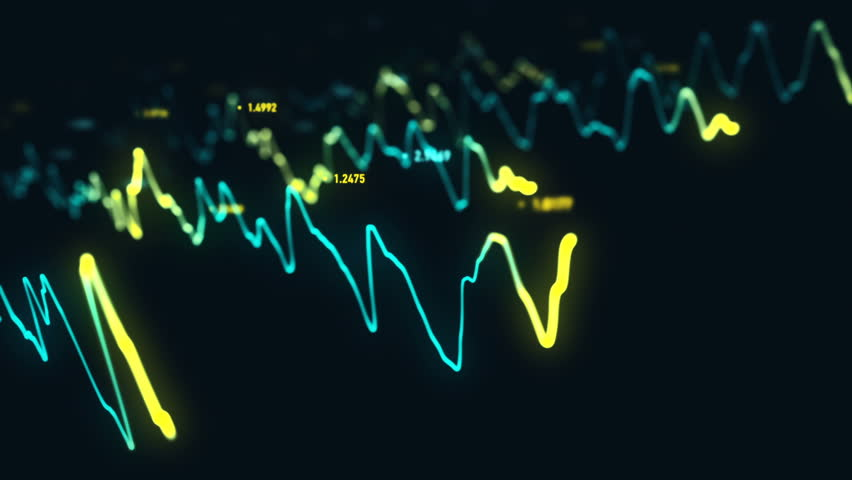 Animation growth of abstract charts with changing values of check points on dark background. Animation of seamless loop.   Shutterstock HD Video #1022110495