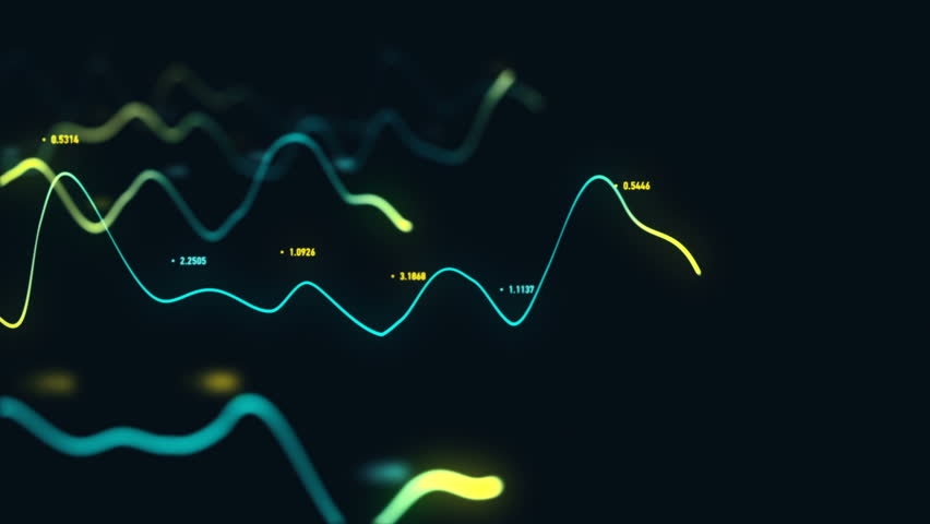 Animation growth of abstract charts with changing values of check points on dark background. Animation of seamless loop.   Shutterstock HD Video #1022110615