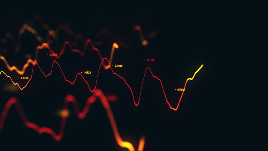 Animation growth of abstract charts with changing values of check points on dark background. Animation of seamless loop.   Shutterstock HD Video #1022110975