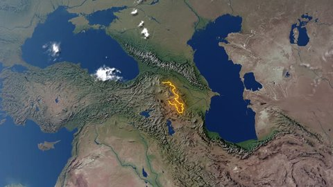 Realistic 3d animated earth showing the borders of the country Armenia and the capital Yerevan in 4K resolution