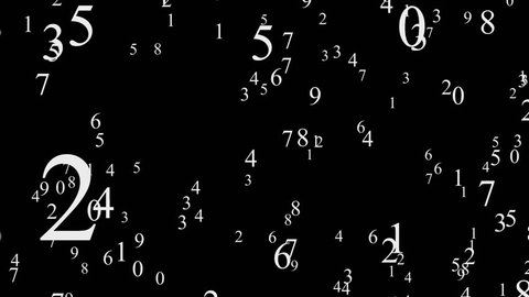 Numbers animated, black abstract motion background. Numbers flying, big numbers from 0 to 9. Black background, white numbers, 4K video background.