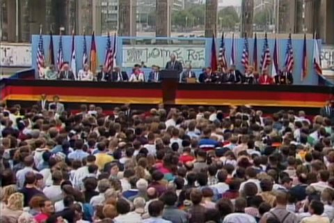 CIRCA 1980s - President Reagan is introduced in German before his speech at the Brandenburg Gate, Berlin 1987