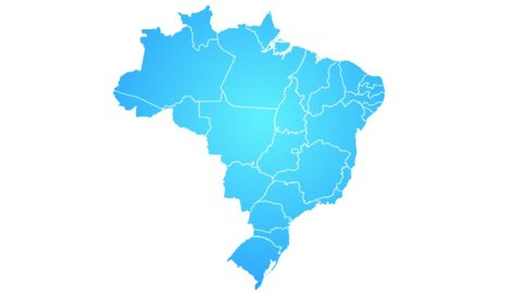 Brazil Map Showing Up Intro By States/ 4k animated brazilian map intro background with states appearing and fading one by one and camera movement