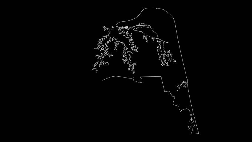 Virginia Beach VA city map outline animation