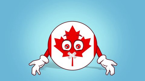 Cartoon Icon Flag Canada Silent Tape Mouth with Face Animation with Alpha Matte