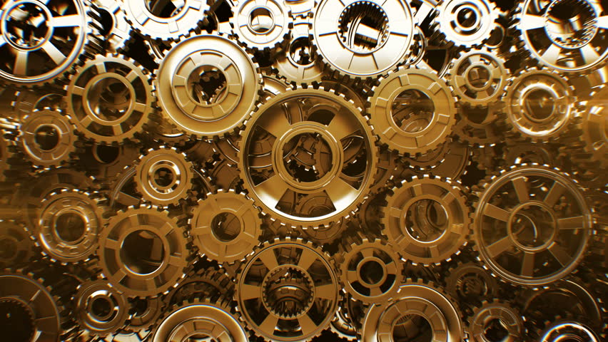 Beautiful Golden Gears Wall Front View Seamless Rotation. Beautiful Looped 3d Animation. Abstract Working Process. Teamwork Business and Technology Concept. 4k Ultra HD 3840x2160.  | Shutterstock HD Video #1022372725