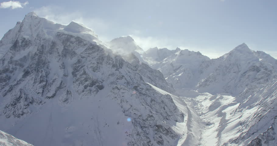 Wide shot POV AERIAL View of Himalayan snowcapped rocky mountains in Nepal and Tibet near Mount Everest