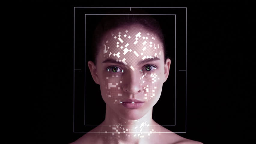 Facial Recognition System. Face ID. Face Detection Dots and Trackers. Futuristic and Technological 3D Scanning of the Face of a Beautiful Woman for Facial Recognition and Scanned 3D Polygonal Mesh. | Shutterstock HD Video #1022415235