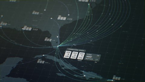 3D animation of 2D vector graphs charting coordinates with a map of Florida and the Caribbean Islands in the background with light green colors. Created in 4k.