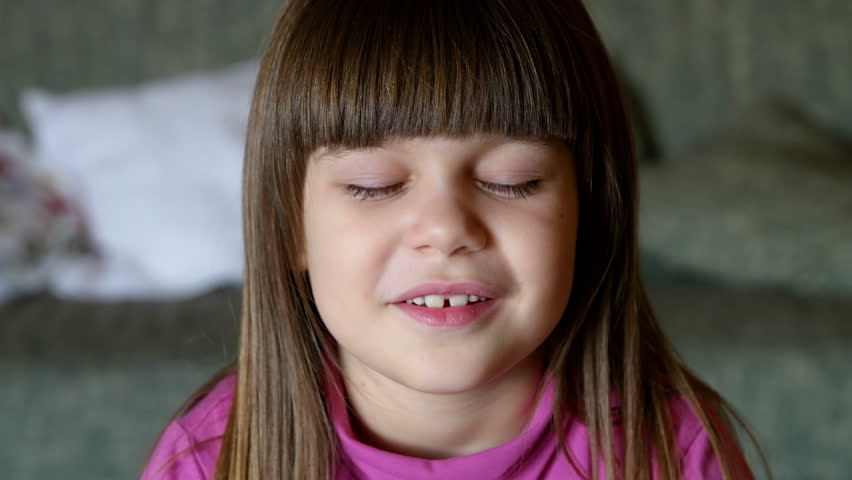 48eb5918a4d Smiling Girl Portrait  Little Girl Stock Footage Video (100% Royalty ...