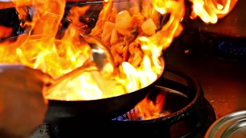 Chinese food slow motion fire