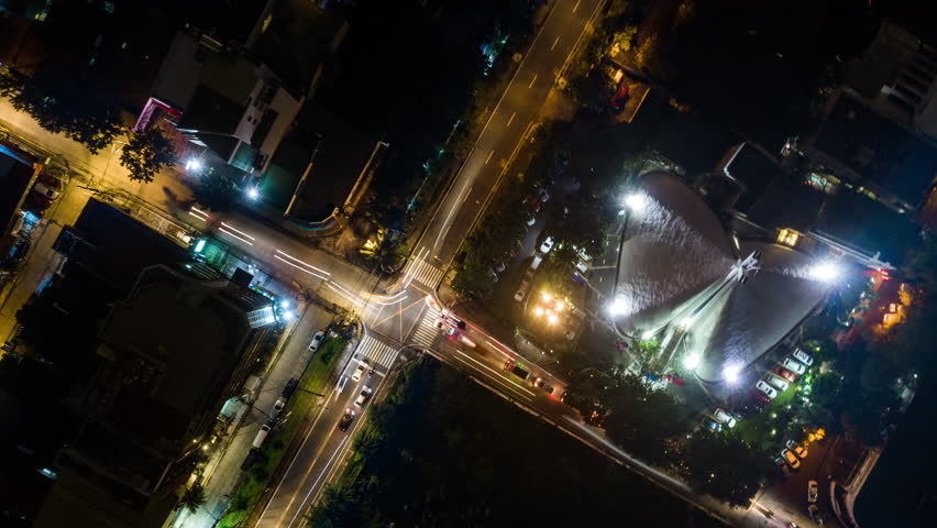 Makati, Manila, Philippines - August 15, 2018:timelapse aerial locked shot showing church and streets at night | Shutterstock HD Video #1022546005