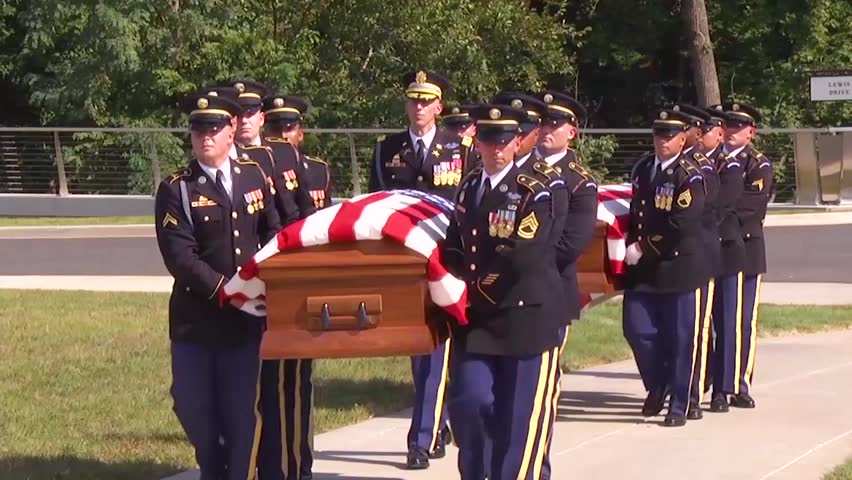 CIRCA 2018 - a formal military funeral for a dead US soldier at Arlington National cemetery.