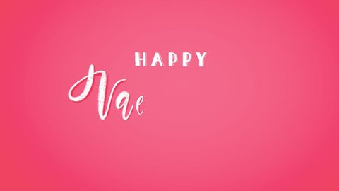 4K Animated Valentine's Day greetinh card with white hand-lettering on bright pink background. Kinetic typography design for emails, banners or greeting cards. Fancy cartoon holiday video clip.
