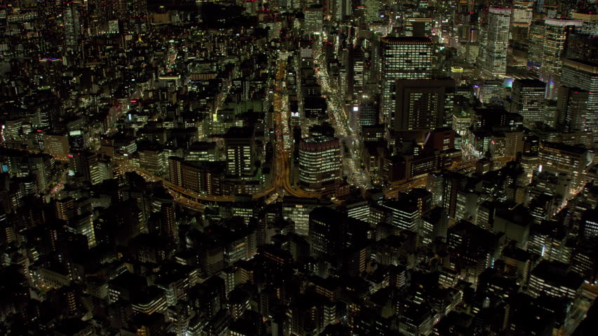 Tokyo, Japan circa-2018. Aerial view of freeway intersection at night. Shot from helicopter with RED camera. | Shutterstock HD Video #1022609755