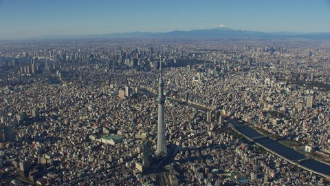 Tokyo, Japan circa-2018. Aerial view of Tokyo Skytree. Shot from helicopter with RED camera.