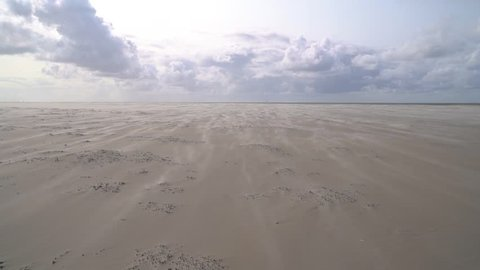 lonely North Sea beach with cloudy sky and sand blowing away on a windy day in friesland