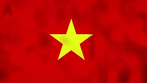 Vietnam flag on the wind, animated in 4k. Great background for motion design and animations or text. Flag calmly waving on the wind.