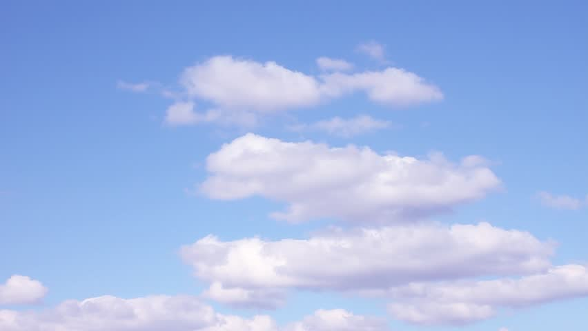 Sunny clear weather, white formating clouds, blue transparent sky in horizon, building fast motion, rotation cloudscape, real after rain cloudy day. 1920x1080, 30 FPS. FHD. #1022659645