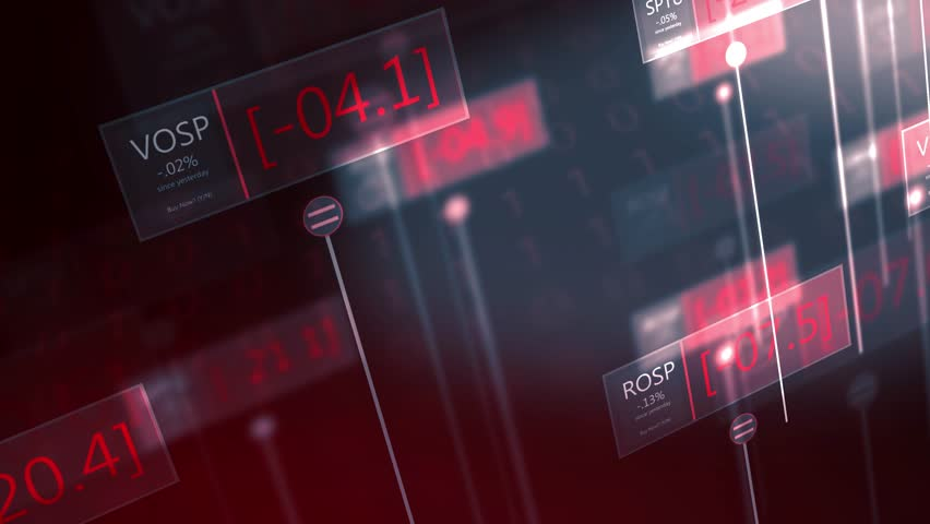 Dramatic futuristic stock market red numbers falling - failing economy concept  | Shutterstock HD Video #1022672815