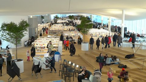 HELSINKI, FINLAND - JAN 12, 2019: Helsinki City Central Library Oodi is a new cultural and media hub and a non-commercial, urban public meeting space opening to all. It's modern building with its
