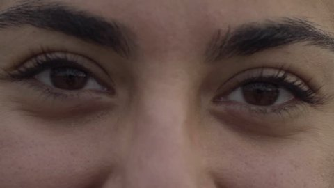 Beautiful female brown eyes. Close up shot of attractive female face. Beauty concept