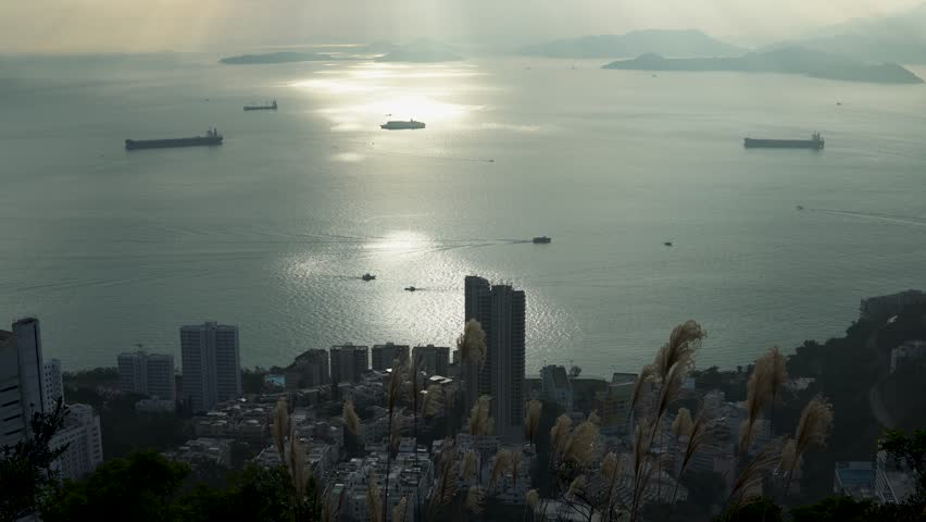 Hong Kong city. Beautiful view from end of nice trail. | Shutterstock HD Video #1022688955